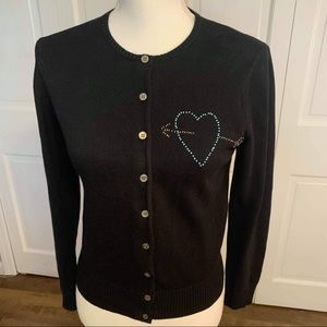 Marc Jacobs Black Button Down Crewneck Cardigan M